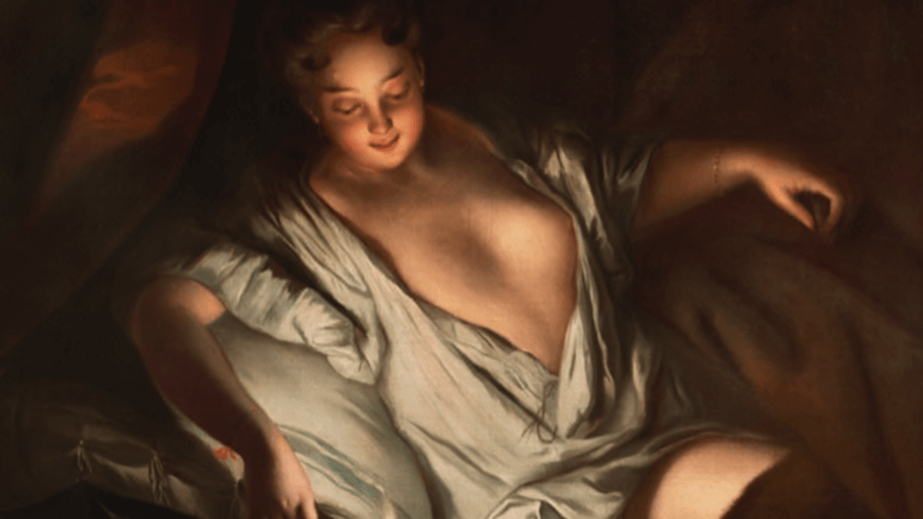 JEAN-BAPTISE SANTERRE, Le Lever, a portrait of a Lady reclining by candlelight, oil on canvas, 100x125cm