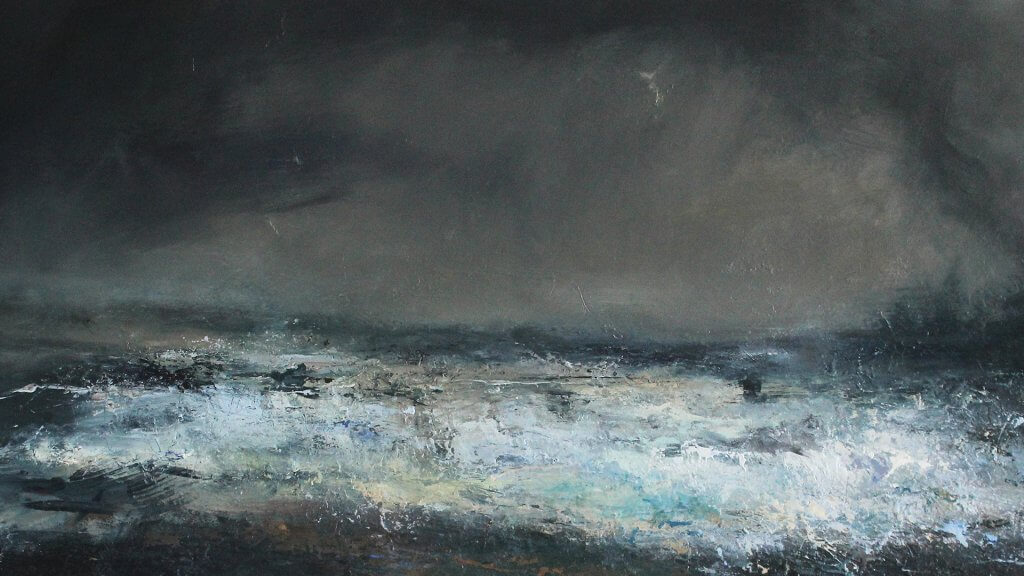 Janette Kerr, Moonlight - low tide, 2018, oil on canvas, 27.8in x 55.3in (70.5cm x 140.5cm) © the artist, courtesy of Cadogan Contemporary