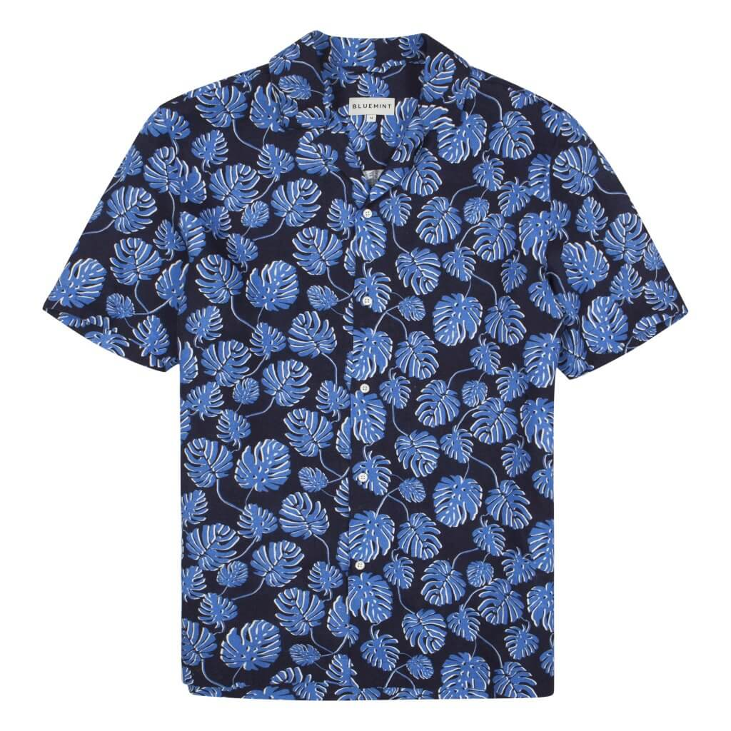Mars Printed - Camp Collar Linen Shirt - Navy Bloom £95