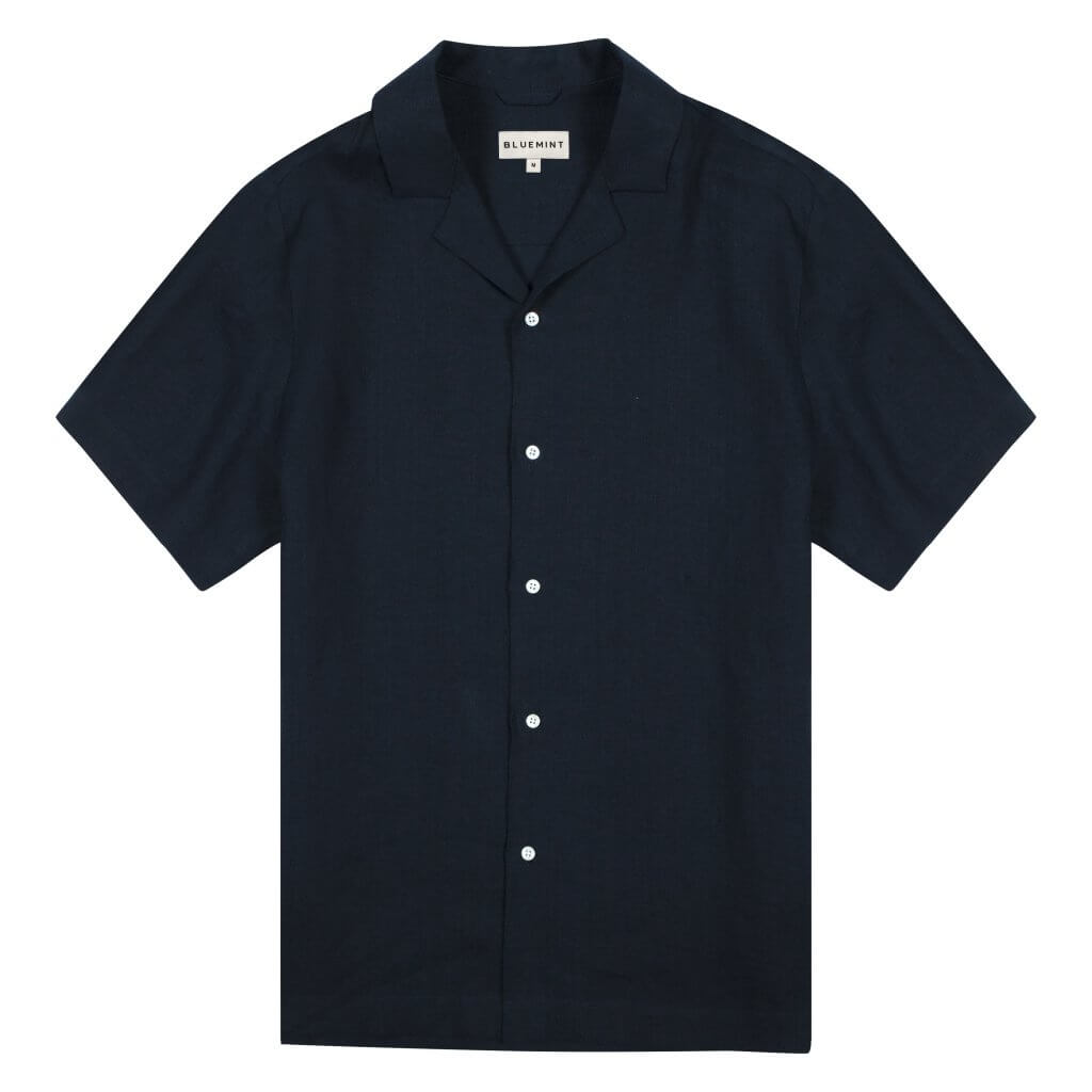 Mars - Camp Collar Linen Shirt - Dark Navy £80