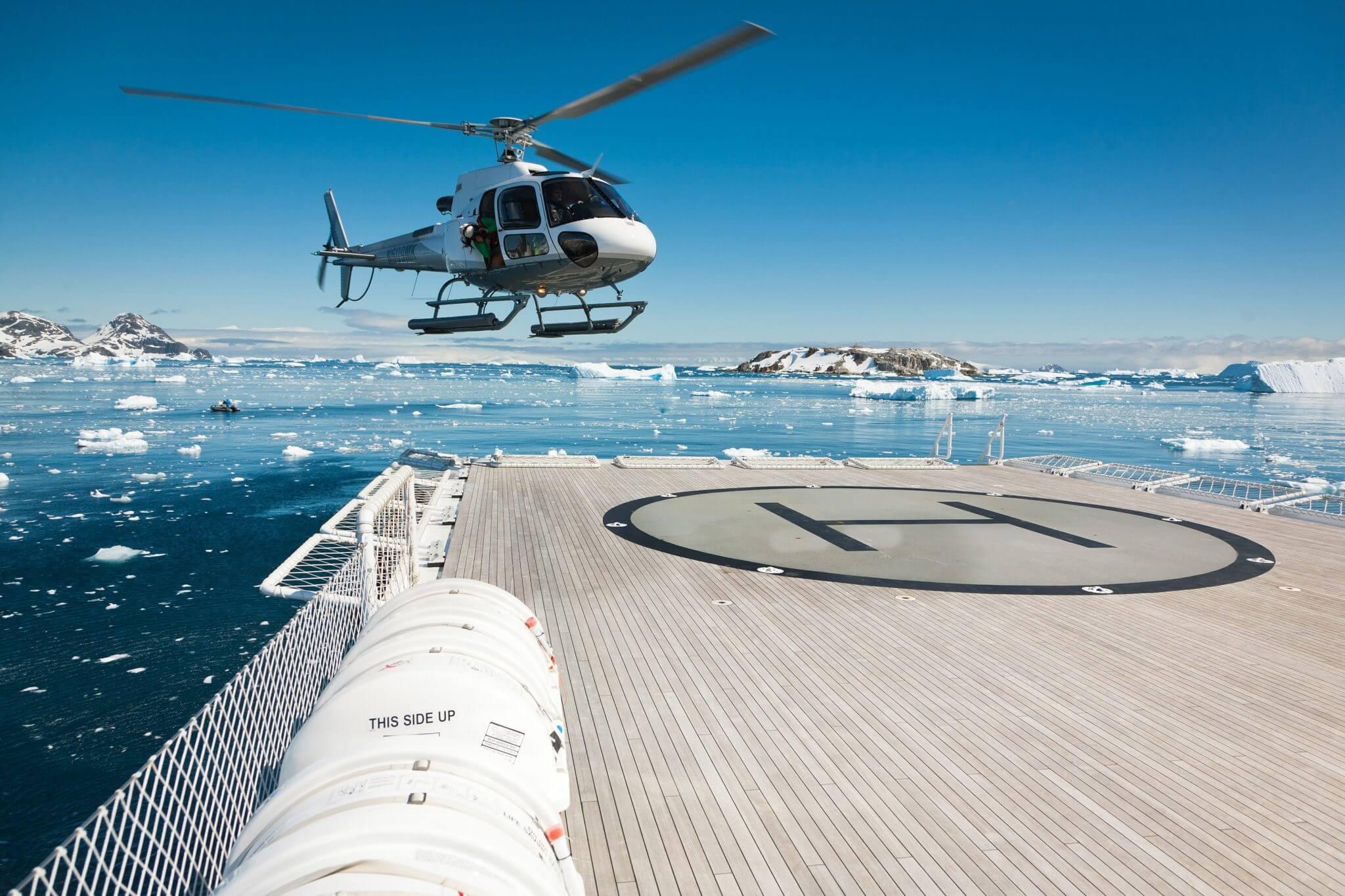 Antarctica - helicopter landing
