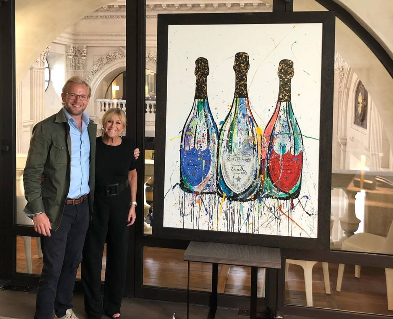Alex and His Mother With His Champagne Bottle Artwork