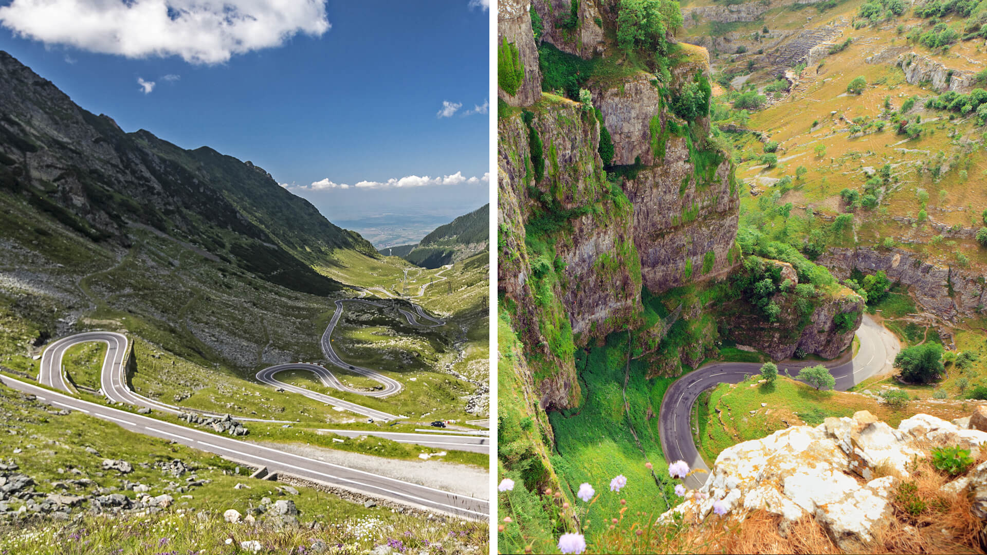 Romanian Transfagarasan Highway vs. Winding Hills in the South West of England