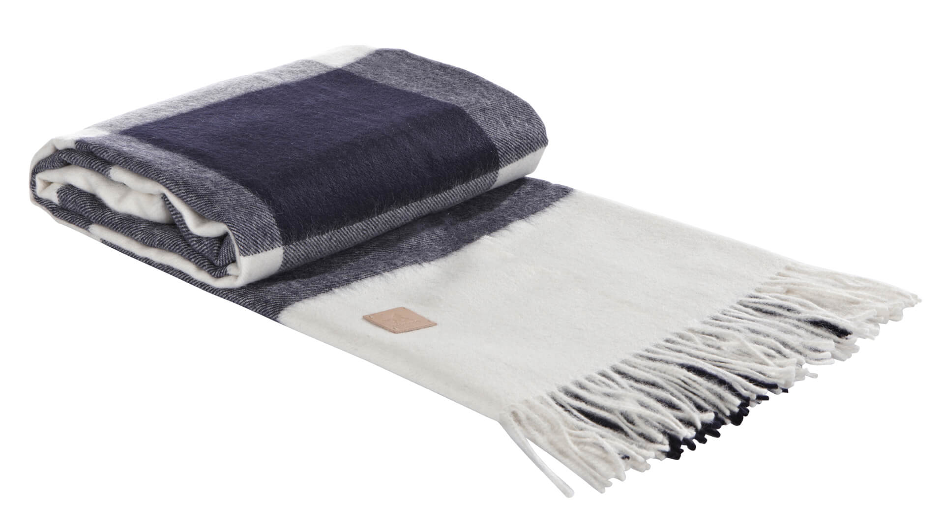 Alpaca Throw Navy Cream Check