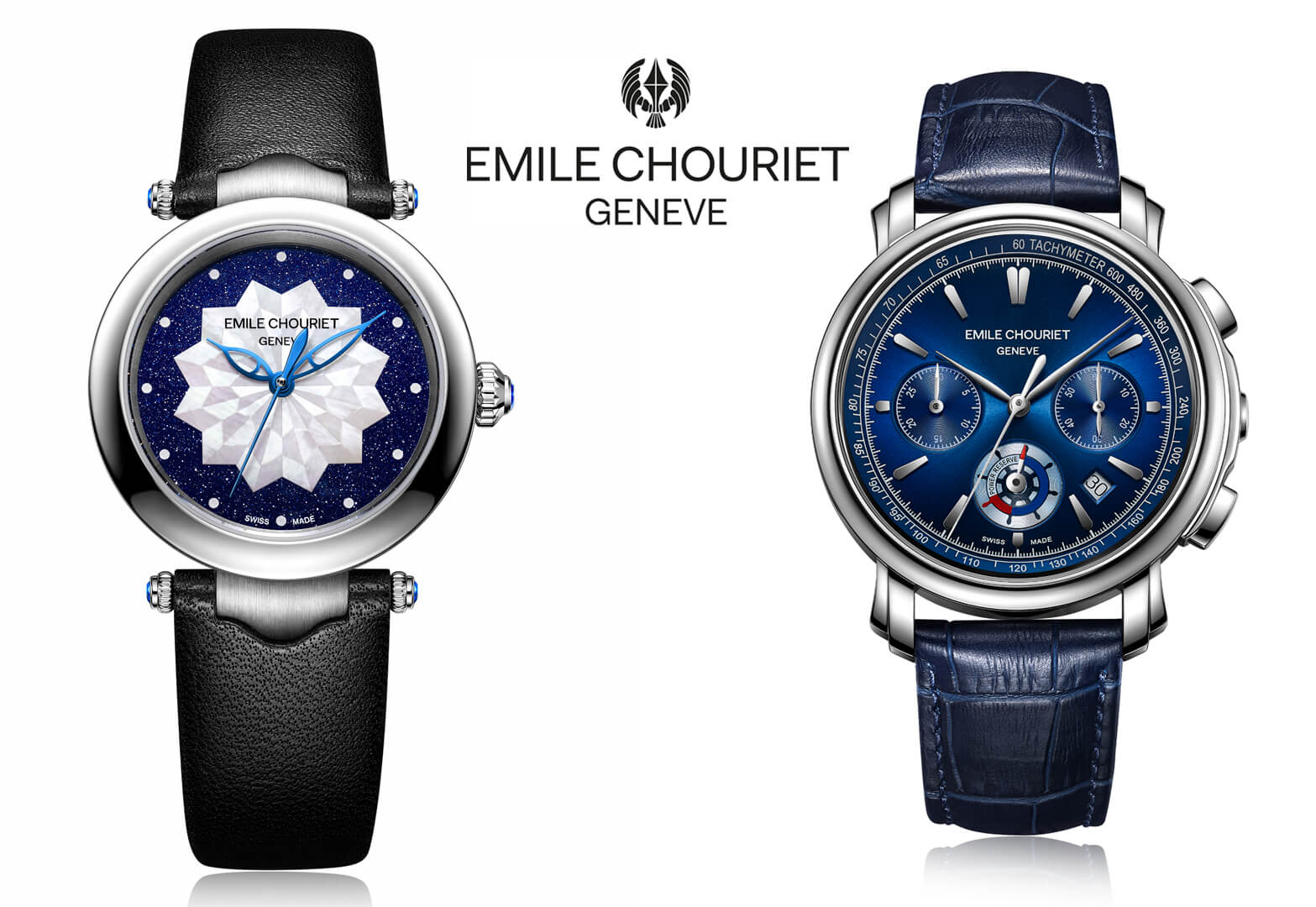 The Emile Chouriet Women's Fair Lady Lotus Blue Watch and Men's Lac Leman Chronograph Blue Watch