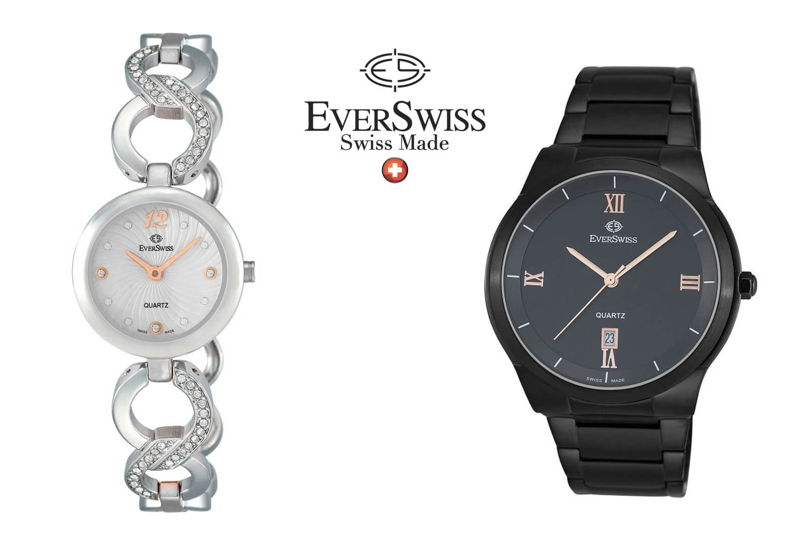 Pictured: Ladies EverSwiss Watch and Men's EverSwiss Watch