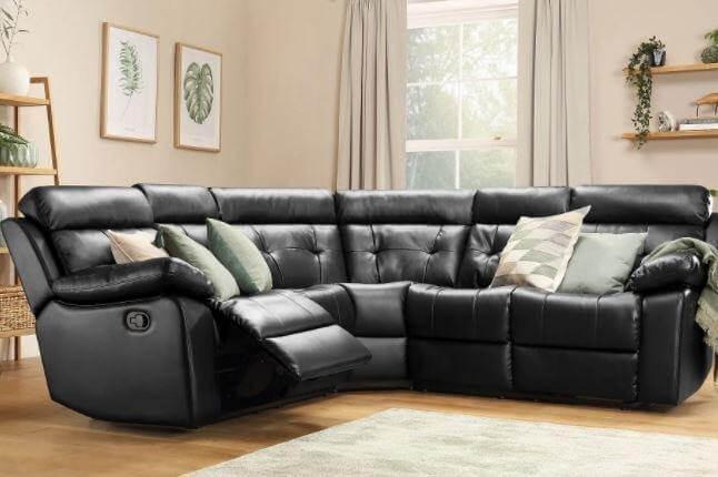 Click to buy the Grosvenor Black Leather Recliner Corner Sofa.