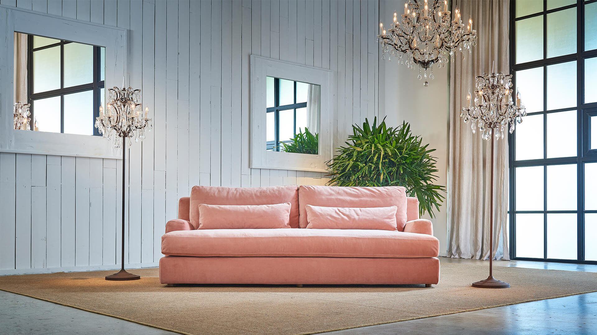 Panama three seater in Botanical Linen Pink, was £3,295, now £1,977