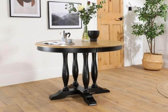 Click to buy the Highgrove Painted Black and Oak Dining Table here